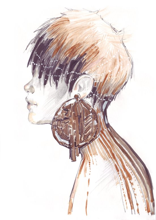 Fashion illustration profile portrait gold black white markers and watercolors Art Print