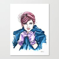 Girl With The Purple Glo… Canvas Print