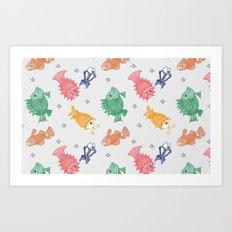 Multicolor Mithila Fish Print Art Print