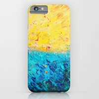 iPhone & iPod Case featuring THE DIVIDE - Stunning Bold Colors, Ocean Waves Sun, Modern Beach Chic Theme Abstract Painting by EbiEmporium