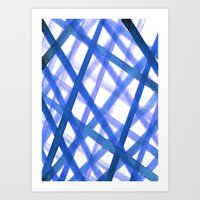 Criss Cross Blue Art Print
