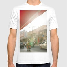 Red SMALL White Mens Fitted Tee