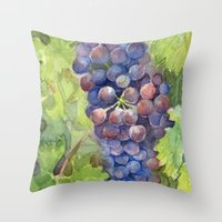 Grapes Watercolor | Wine Lovers Throw Pillow