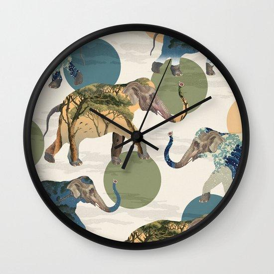 Elephant Polka Wall Clock