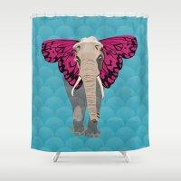 Elephant Butterfly Shower Curtain