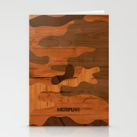 Modern Woodgrain Camouflage / Woodland Print Stationery Cards
