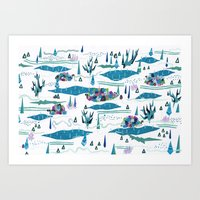 tundra-confined exiles in a rollicking game of hide and seek Art Print