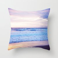 Purple Sunset over Hermosa Beach, Los Angeles  Throw Pillow