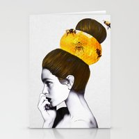 bee Stationery Cards featuring The Bee Hive  by Jenny Liz Rome