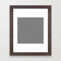 Black and White Checkers Framed Art Print