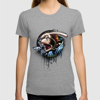 REBBEL RABBIT Womens Fitted Tee Tri-Grey SMALL