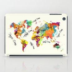 world map art text iPad Case