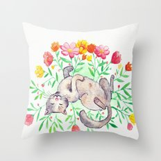 Cat in flowers watercolor Throw Pillow