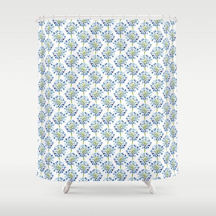 Heart Flower Blue Shower Curtain By Jill Byers Society6