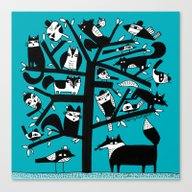 ANIMAL TREE AQUA Canvas Print