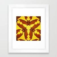 Geometric Bat Pattern - Golden version Framed Art Print