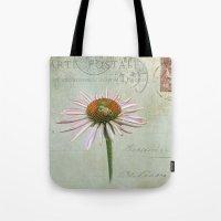 coneflower & bee postale Tote Bag