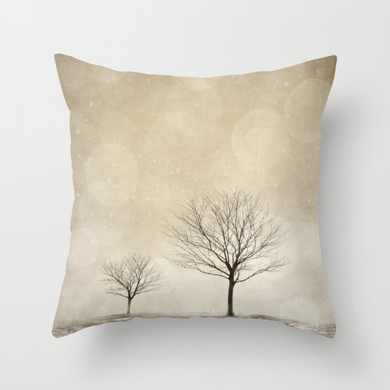 Snow Bokeh Wonderland  Throw Pillow