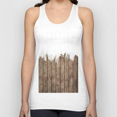 White Abstract Paint on Brown Rustic Striped Wood Unisex Tank Top