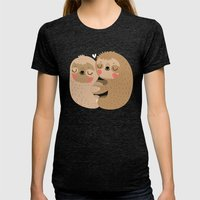 Sloth love Womens Fitted Tee Tri-Black SMALL