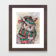 Christmas Owl Framed Art Print
