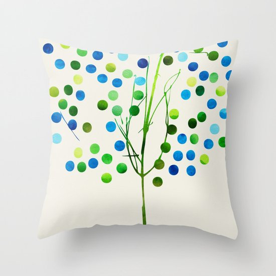 Tree of Life Aqua  by Jacqueline Maldonado & Garima Dhawan Throw Pillow