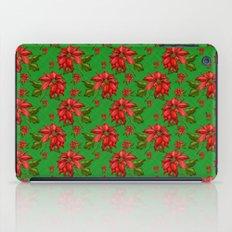 Red Poinsettia Plaid iPad Case