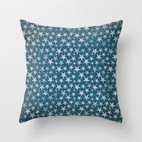 White stars on grunge textured blue background Throw Pillow