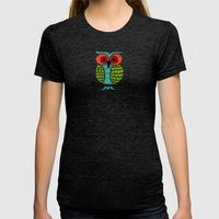 Curiosity Never Killed an Owl Womens Fitted Tee Tri-Black SMALL