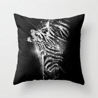 Zebra Mood - White Throw Pillow