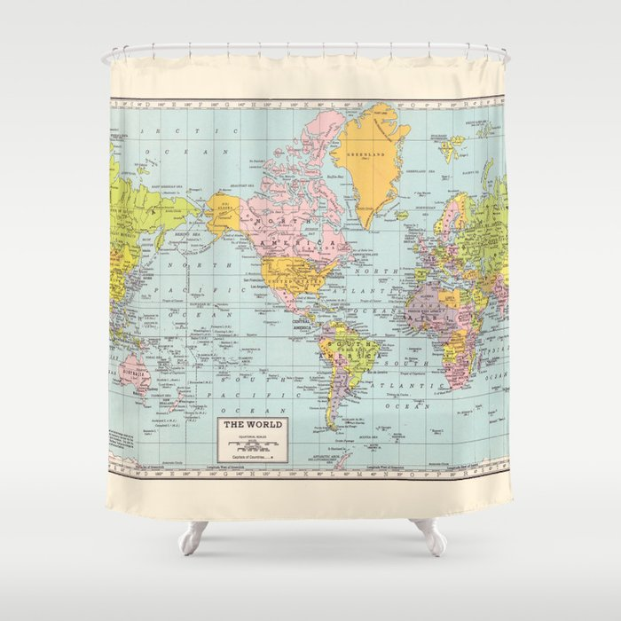 World Map Shower Curtain By Catherine Holcombe