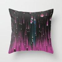 Pink Meteors Throw Pillow