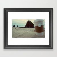 Sipping Tea at Cannon Beach Framed Art Print