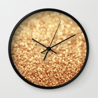 Wall Clock featuring Gold by Ingrid Beddoes