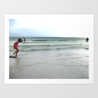 Having Loads of Fun on the Beach Art Print