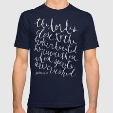 Psalm 34:18 Mens Fitted Tee Navy SMALL