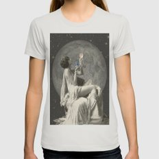 Space Pearls Womens Fitted Tee Silver SMALL