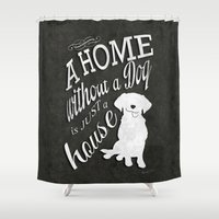 Home with Dog Shower Curtain