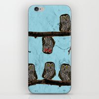 Perched Owls Print iPhone & iPod Skin