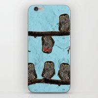 Perched Owls Print iPhone & iPod Skin