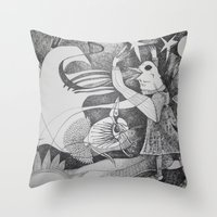 Bird Girl Throw Pillow