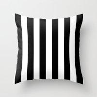 Bold Stripes (Black & White) Throw Pillow