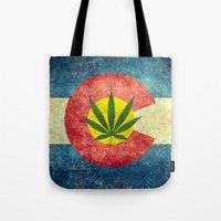 Retro Colorado State flag with the leaf - Marijuana leaf that is! Tote Bag
