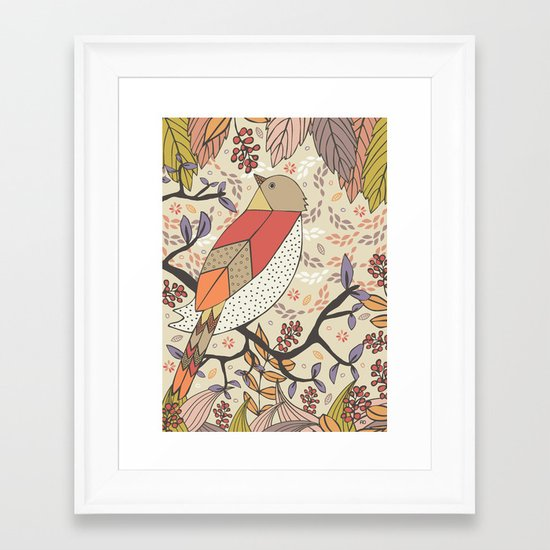 Singing Red Bird Framed Art Print