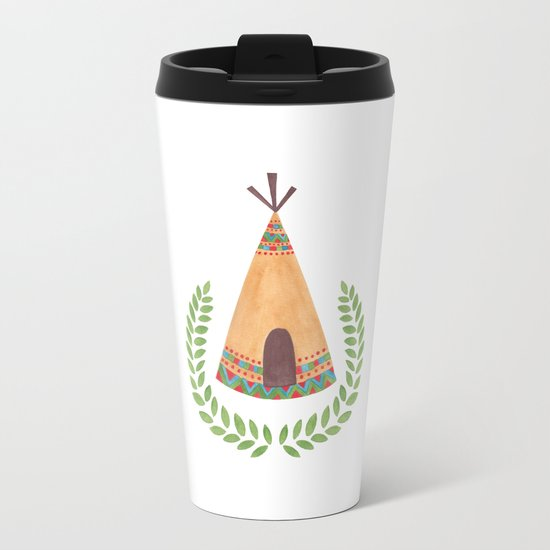 Tipi Watercolor Illustration on Travel Mug by Haidi Shabrina