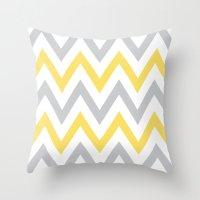 Gray & Yellow Chevron Throw Pillow