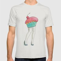 Muffin Tops  Mens Fitted Tee Silver SMALL