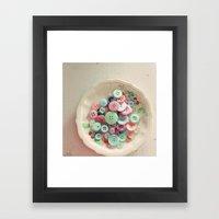 Bowl Of Buttons Framed Art Print