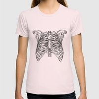 rib cage Womens Fitted Tee Light Pink SMALL