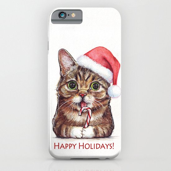Lil Bub in Santa Hat with Candy Cane - Happy Holidays iPhone & iPod Case